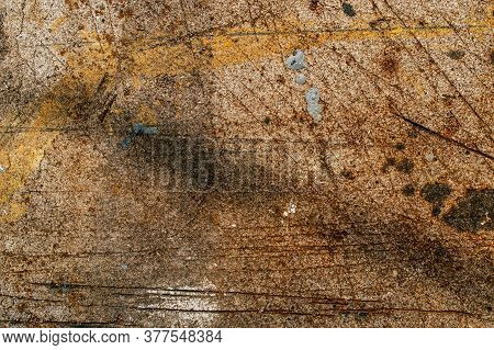 Old Dirty And Shabby Surface With Scratches Close Up