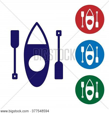 Blue Kayak And Paddle Icon Isolated On White Background. Kayak And Canoe For Fishing And Tourism. Ou