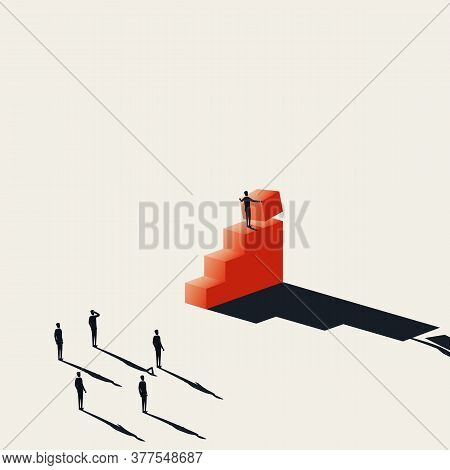Business Growth And Success Vector Concept With Business Leader Building Steps. Symbol Of Achievemen