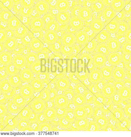 Bitcoin, Internet Currency Gold Coins Seamless Pattern. Stunning Scattered Yellow Btc Coins. Success