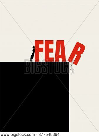 Woman Fights Fear Of Violence, Discrimination, Gender Inequality Vector Concept. Stop Attack On Wome