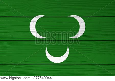 Ottoman Tripolitania 18th Century Flag Color Painted On Fiber Cement Sheet Wall Background. Three Wh