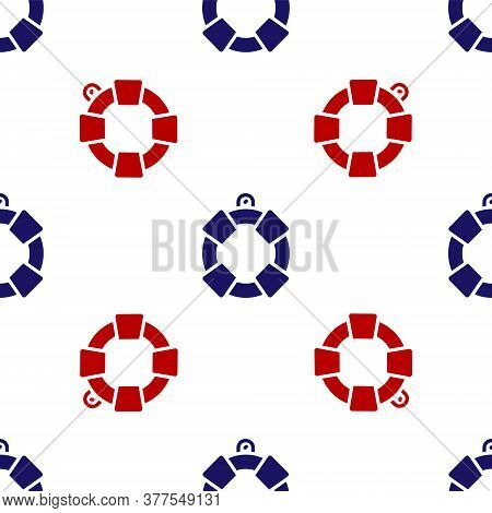 Blue And Red Lifebuoy Icon Isolated Seamless Pattern On White Background. Lifebelt Symbol. Vector