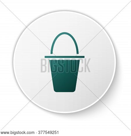 Green Fishing Bucket Icon Isolated On White Background. Fish In A Bucket. White Circle Button. Vecto