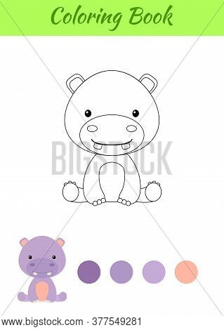 Coloring Page Little Sitting Baby Hippo. Coloring Book For Kids. Educational Activity For Preschool
