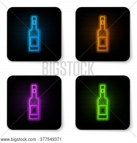 Glowing Neon Glass Bottle Of Vodka Icon Isolated On White Background. Black Square Button. Vector