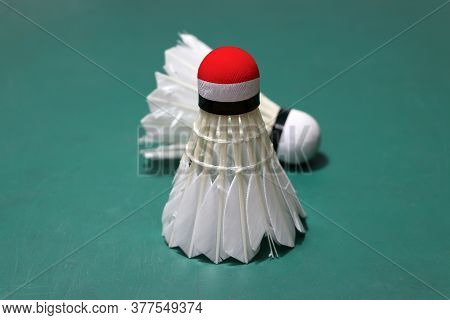 Used Shuttlecock And On Head Painted With Indonesia Flag Put Vertical And Out Focus Shuttlecock Put