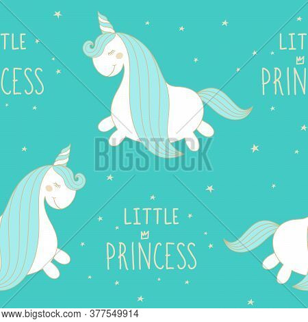 Vector Seamless Pattern Cute Hand Drawn White Unicorn With Turquoise Mane. Cartoon Character With Ha
