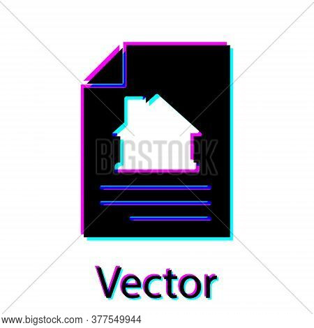 Black House Contract Icon Isolated On White Background. Contract Creation Service, Document Formatio