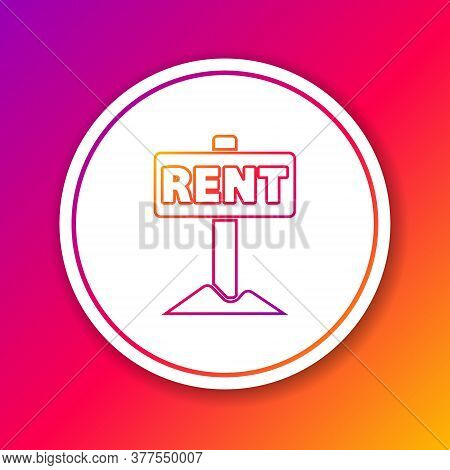 Color Line Hanging Sign With Text Rent Icon Isolated On Color Background. Signboard With Text For Re