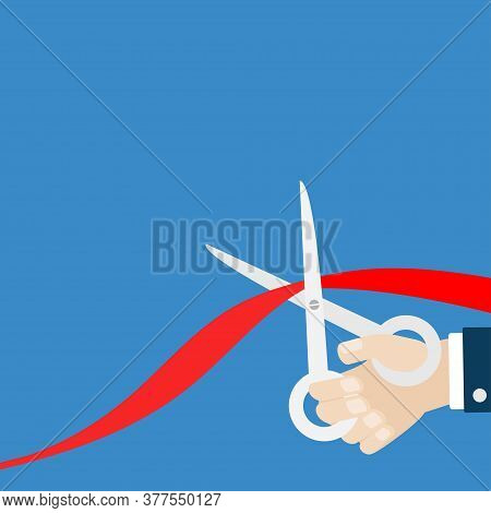 Grand Opening Ceremony. Businessman Hand Scissors Cut Red Ribbon. Inauguration. Flat Design Style. I