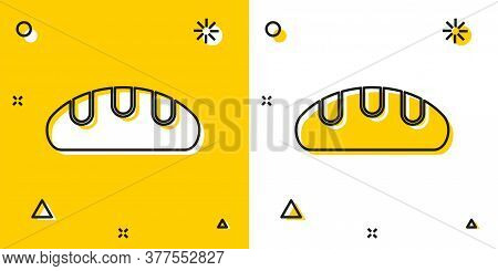 Black Bread Loaf Icon Isolated On Yellow And White Background. Random Dynamic Shapes. Vector