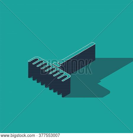 Isometric Garden Rake Icon Isolated On Green Background. Tool For Horticulture, Agriculture, Farming