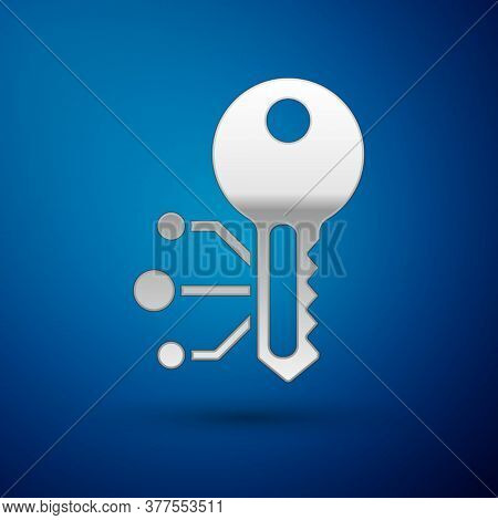 Silver Cryptocurrency Key Icon Isolated On Blue Background. Concept Of Cyber Security Or Private Key