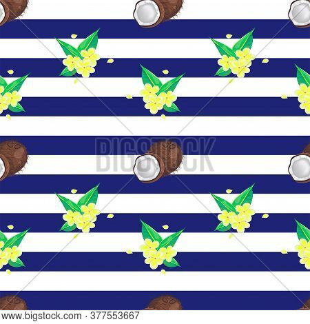 Tropical Seamless Pattern With Stripes, Frangipani Flowers And Coconuts. Vector Design.