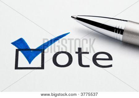 Blue Checkmark In Vote Checkbox, Pen Lying On Ballot Paper