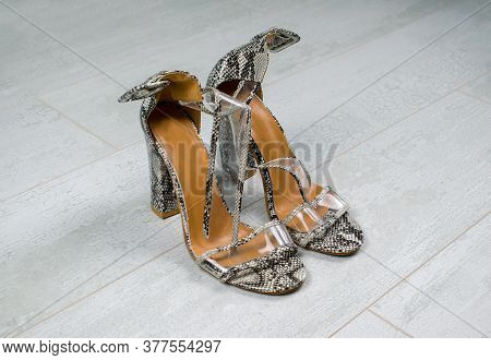 Women Snake Leather Skin Shoes With High Heels On Light Wood Background. Black And White Sandals Wit