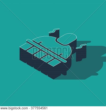 Isometric Sauna And Spa Procedures Icon Isolated On Green Background. Relaxation Body Care And Thera