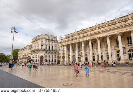 BORDEAUX, FRANCE - August 18, 2019: Grand Theatre de Bordeaux is a main theatre in the centre of Bordeaux city in France