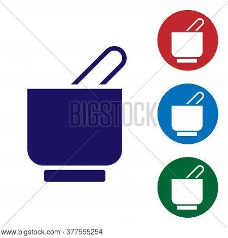 Blue Mortar And Pestle Icon Isolated On White Background. Set Icons In Color Square Buttons. Vector