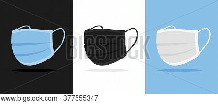 Set Of Three Vector Flat Facial Medical Masks. Pollution Protective Respiratory Masks, Safety Surgic
