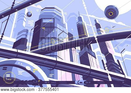 City Metropolis Of Future With Skyscrapers And