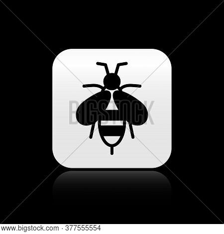 Black Bee Icon Isolated On Black Background. Sweet Natural Food. Honeybee Or Apis With Wings Symbol.