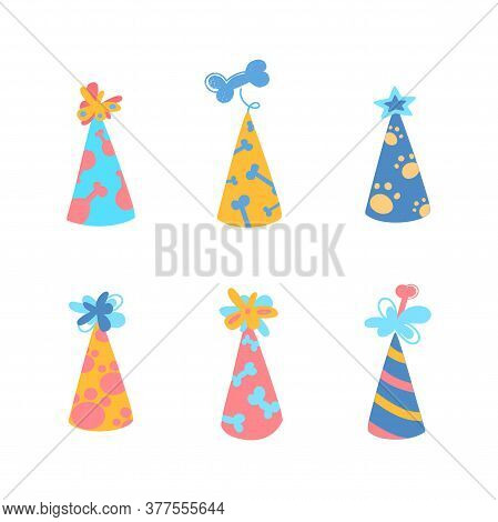 Festive Party Caps For Your Dogs Birthday. Set Of Vector Illustrations With Caps For Puppies. Bones,