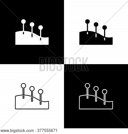 Set Acupuncture Therapy Icon Isolated On Black And White Background. Chinese Medicine. Holistic Pain