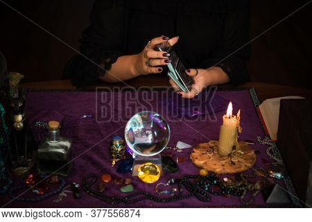 Tarot Cards, Concept Of Fortune Telling And Predictions, Magical Rituals And Wicca Elements On A Tab
