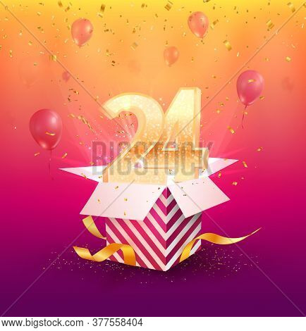 24 Th Years Anniversary Vector Design Element. Isolated Twenty Four Years Jubilee With Gift Box, Bal