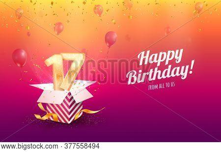 Celebrating 17 Th Years Birthday Vector Illustration. Seventeen Anniversary Celebration Invitation C