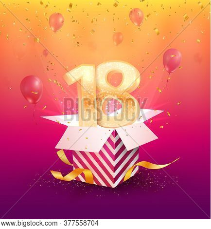 18 Th Years Anniversary Vector Design Element. Isolated Eighteen Years Jubilee With Gift Box, Balloo