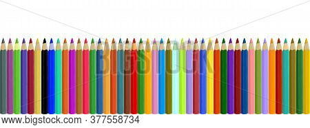 Seamless Colored Pencils Row Isolated On White Background. Multicolor Crayons Set. Big Collection Of