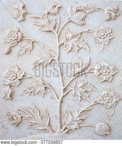 Marble Flowers Bas-relief On Taj Mahal In Agra, Uttar Pradesh, India. Taj Mahal Is Widely Recognized