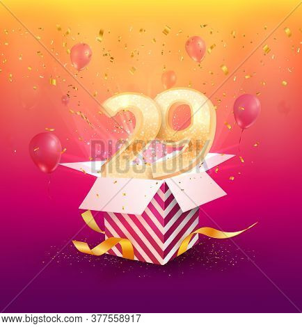 29 Th Years Anniversary Vector Design Element. Isolated Twenty Nine Years Jubilee With Gift Box, Bal
