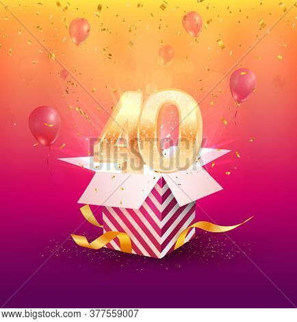 40 Th Years Anniversary Vector Design Element. Isolated Forty Years Jubilee With Gift Box, Balloons