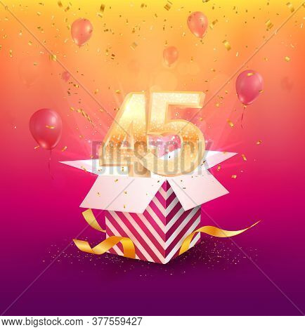 45 Th Years Anniversary Vector Design Element. Isolated Forty Five Years Jubilee With Gift Box, Ball