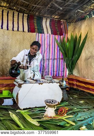 Lake Tana, Ethiopia - Feb 05, 2020: Zege Peninsula In Lake Tana. Young Woman In Traditional Clothing