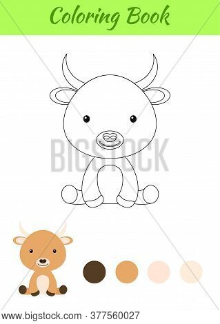 Coloring Page Little Sitting Baby Yak. Coloring Book For Kids. Educational Activity For Preschool Ye