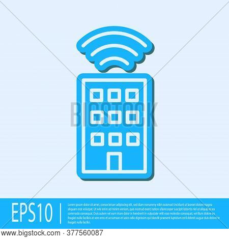 Blue Line Smart Home With Wireless Icon Isolated On Grey Background. Remote Control. Internet Of Thi