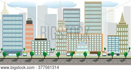 Modern Vector Flat Cartoon Cityscape With Highway On Front And Different Buildings - Down Town, With