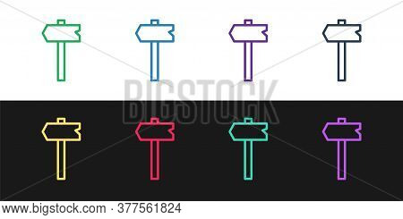 Set Line Road Traffic Sign. Signpost Icon Isolated On Black And White Background. Pointer Symbol. Is