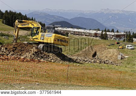 Chamrousse, France, July 10, 2020 : Works In The Mountain. Chamrousse Ski Resort Prepares A New Pool