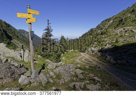 Prabert, France, July 20, 2020 : Directions On Mountain Paths. Belledonne Mountain Range Is Noted Fo