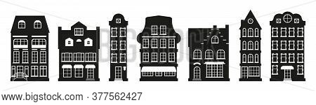 Glyph Houses Silhouette Amsterdam Set. Graphic Icon Townhouse, European Stayle. Black Urban And Subu