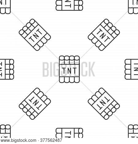 Grey Line Detonate Dynamite Bomb Stick And Timer Clock Icon Isolated Seamless Pattern On White Backg