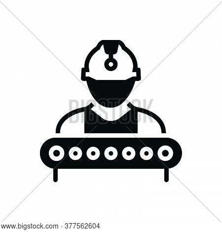 Black Solid Icon For Industry-worker Construction Supervisor Industry Manager Helmet Factory Employe