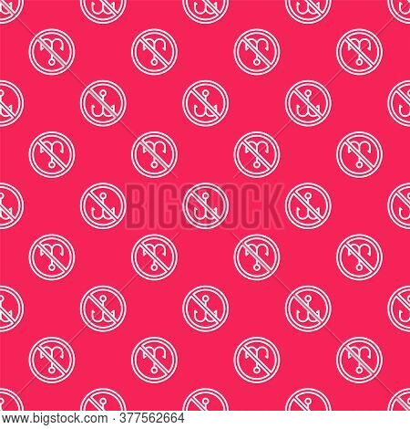 White Line No Fishing Icon Isolated Seamless Pattern On Red Background. Prohibition Sign. Vector