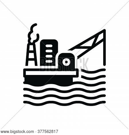 Black Solid Icon For Oil-platform Offshore Development Drilling Energy Exploration Extraction Petrol